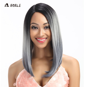 Noble Synthetic Lace Front Wigs 14 Inch Short Wigs For Black Women Synthetic Wig Cosplay Wigs For Women Heat Resistant Wig(China)