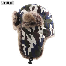 SILOQIN Camouflage Plus Velvet Thick Bomber Hats Winter Mens Earmuffs Hat Windproof Snowproof Womens Warm Ski Cap With Ears