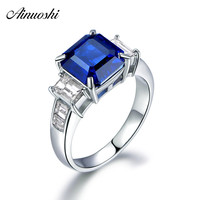 AINUOSHI 2.25 Carat Square Cut Blue Whtie Sona Bridal Rings 925 Sterling Silver Women Wedding Engagement Anniversary Rings Gifts