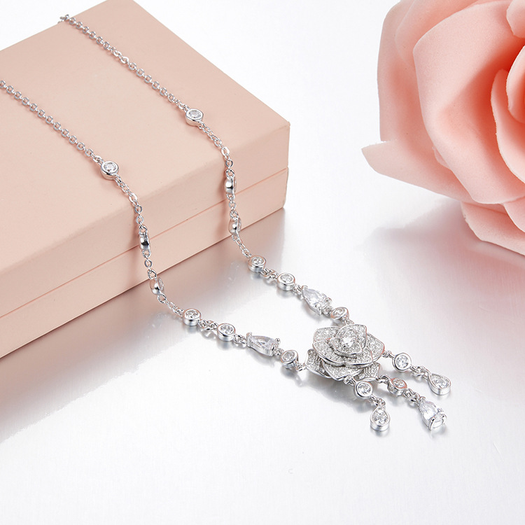 ZOZIRI brand Charm rose flowers Pendant necklace for women delicate small water drop necklace real 925 sterling silver jewelry цена