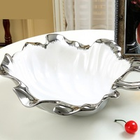 Electroplated Ceramics Leaf Shape Dinner Plate Ornamental Porcelain Serving Tray Tableware Receptacle Ornament Craft Accessories