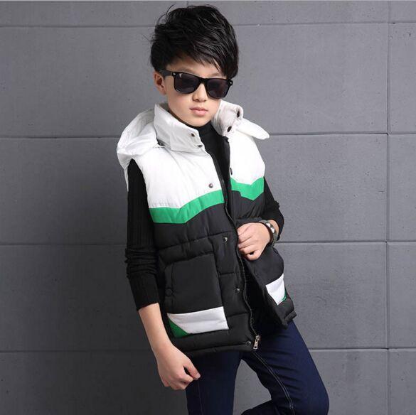 ФОТО Fashion Active Brand Boys Patchwork Waistcoats Boys Autumn Hooded Vest Kids Sleeveless Jacket Children Warm inner Winter Coat