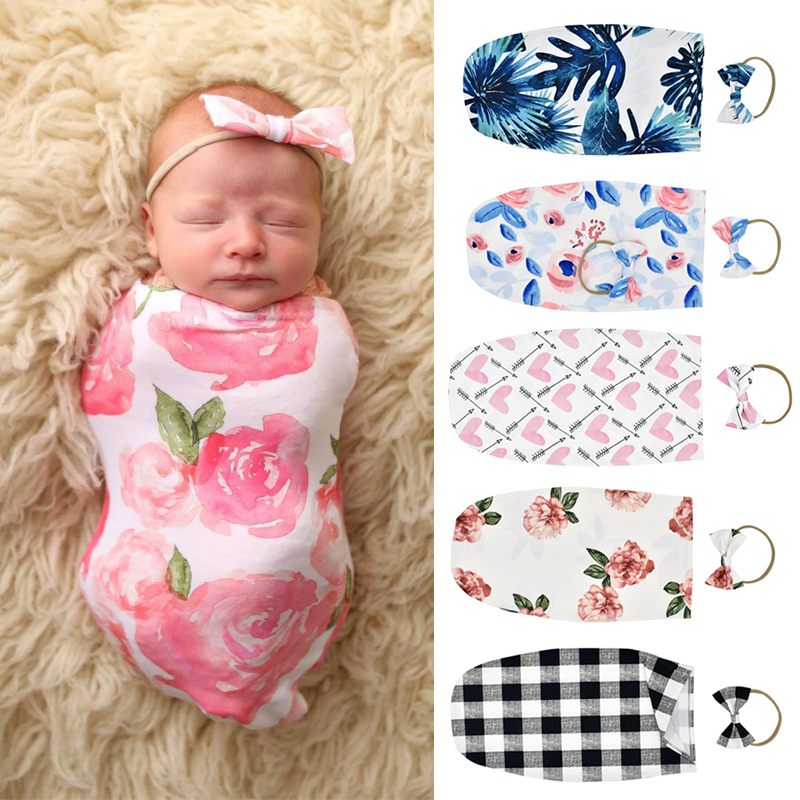 0-2M Newborn Set Newborn Baby Sleeping Bag Cute Cartoon Floral Print Swaddle Blanket Anti-kick Sleeping Swaddle Wrap+Headband