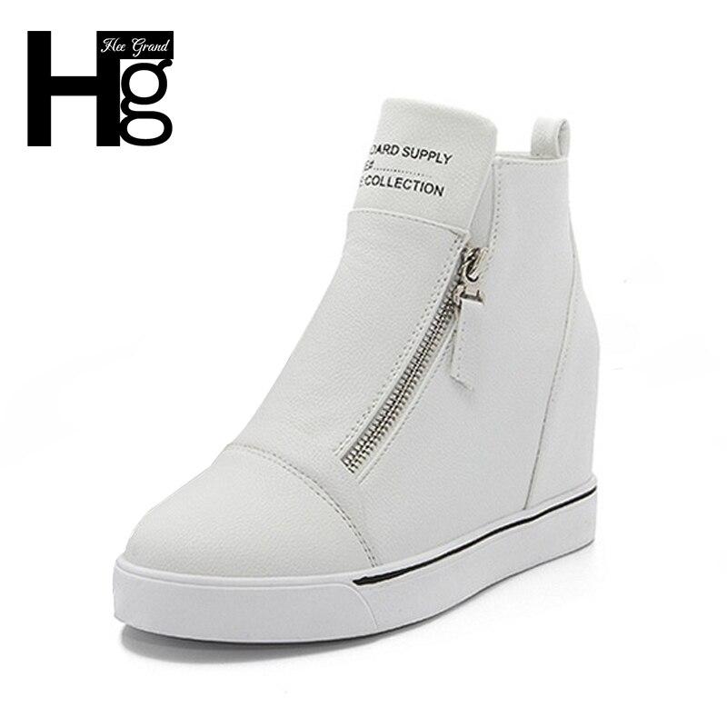 HEE GRAND Fashion Height Increasing Women Shoes Zip White Black Women Casual Pumps Wedges Shoes Drop