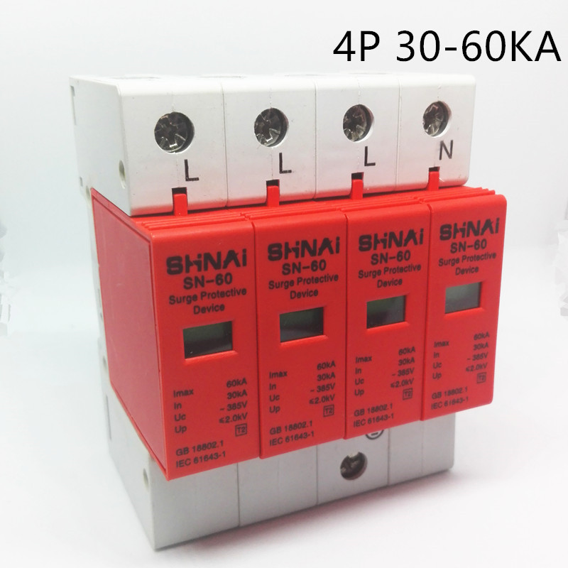 SPD 30KA-60KA 4P Surge Arrester Protection Device Electric House Surge Protector D ~385V AC