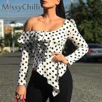 8a646bfe3 MissyChilli Sexy One Shoulder Blouse Shirt Women Ruffle Polka Dot Tops And  Shirts Ladies Summer Long