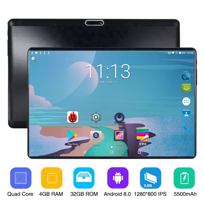 10.1 Inch Tablet PC Quad Core 4GB RAM 32GB ROM Android 8.0 Bluetooth 1280x800 Ips 3G 4G Call Dual SIM Card 2.5D 10 Inch Tablet