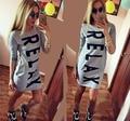 2016 nuevas letras Relax mujeres camisetas letras impresas algodón poleras de mujer Casual señora camisetas largas con bolsillos CH524
