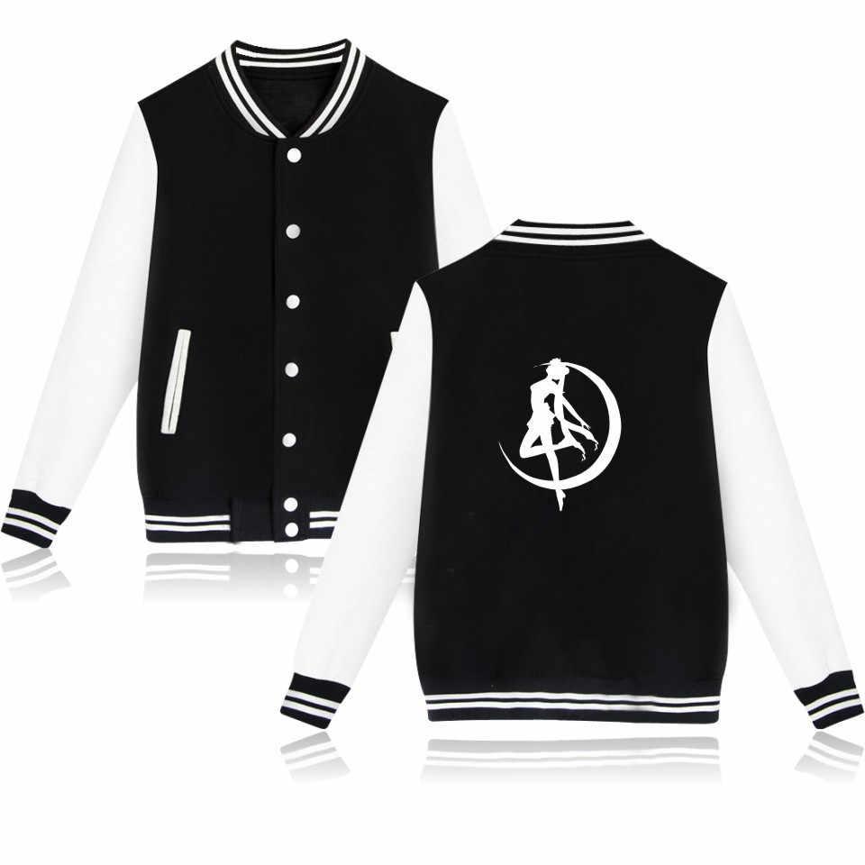 Anime Black Harajuku Sailor Moon Embroidery Sweater Coat Baseball Uniform Jacket