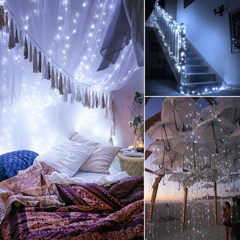 Guirnalda de luces LED solares 200/300/400, guirnalda de luces tipo Hada a prueba de agua para jardín, fiesta de Navidad, decoración de lámpara Solar