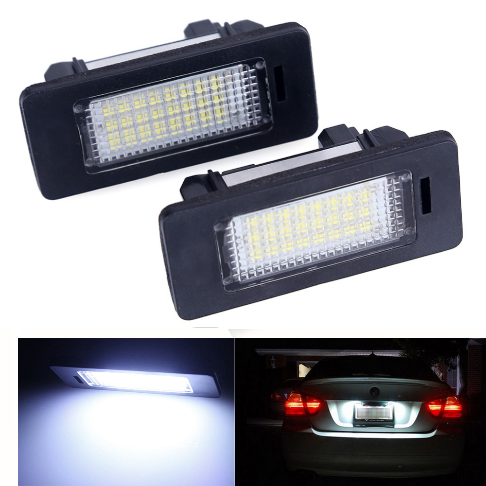 2pcs 24 SMD car led license plate light lamp For BMW E90 E82 E92 E93 M3 E39 E60 E70 X5  E39 E60 E61 M5  E88 2 x led number license plate lamps obc error free 24 led for bmw e39 e80 e82 e90 e91 e92 e60 e61 e70 e71