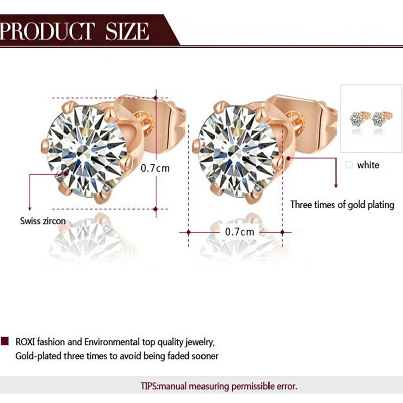 7834412cfe228 US $1.59 20% OFF|ROXI Rose Gold Color Ear Stud Earrings Women Elegant  Fashion Crystal Earrings Ladies Girls Party Wedding Bridal Brincos  Jewelry-in ...