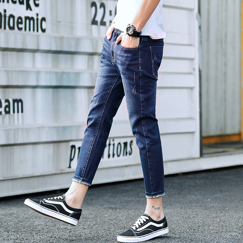 2018 New Fashion Softener Water Wash Scratched Blue Mid Man Jeans Ankle-Length Male Slim Fit Denim Pencil Pants Size 27-36 #909