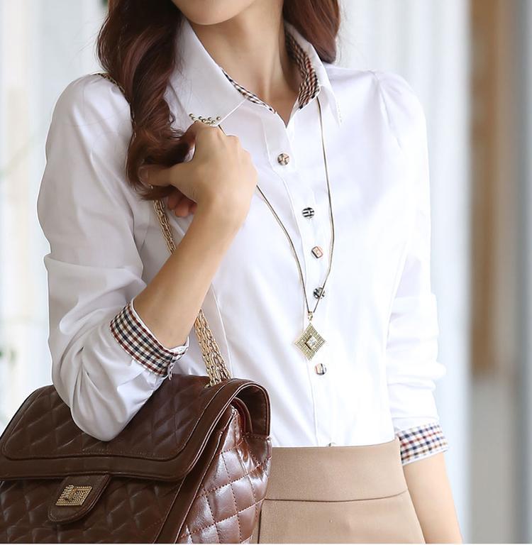 S-5XL Plus size Women clothing Spring 2016 Blusas Ladies Chiffon Blouse Tops long sleeve White shirt Elegant Workwear ol shirt