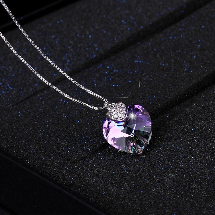 HTB1li5br25TBuNjSspcq6znGFXag Swarovski Crystal Necklace Heart Shape Amethyst Crystal Pendant Necklace Fashion Jewelry Choker Necklace Gift for Lady Collares