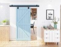 DIYHD 5FT 8FT Smooth Black Box Rail Heavy Duty Barn Door Hardware Interior Outside Door Sliding Track Kit|Doors| |  -