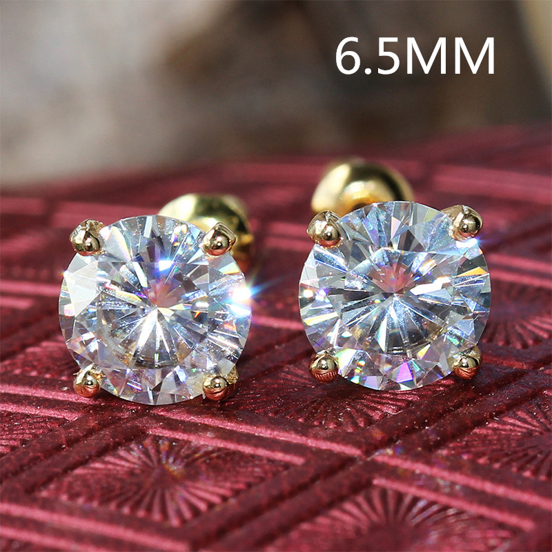 Transgems Cneter 1ct 6.5mm Moissanite Diamond Stud Earring 14K 585 Yellow Gold 2CTW Push Back Earrings For Women Wedding Jewelry майка классическая printio отбросы