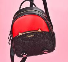 Angelatracy 2019 New Arrival Cat Metal Bling Cute Panelled Pow Student Girl Sequins PU Women Shoulder Bags Backpack Book Bag