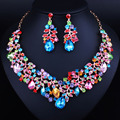 African Beads Jewelry Gold Plated Crystal Necklace and Earrings Set Elegant Bridal Wedding Jewelry Sets