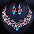 Perlas africanas de la Joyería de Oro Collar Del Cristal Plateado y Pendientes Establecidas Elegante Joyería Nupcial de La Boda Establece