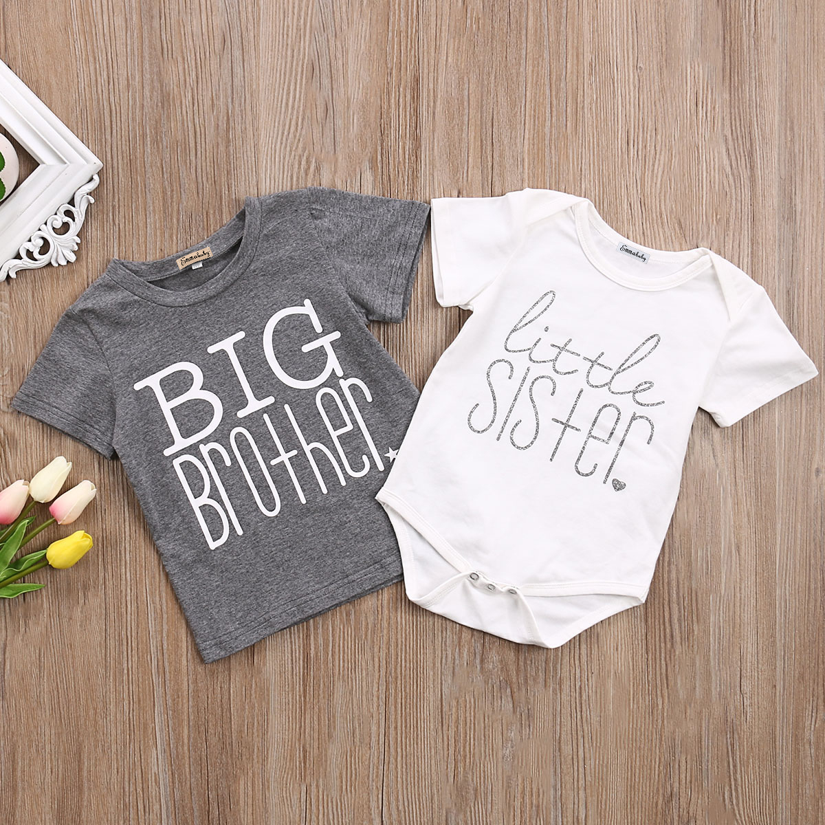 Emmababy T-Shirt Tops Matching Sister Short-Sleeve Cotton Letter And Bodysuit Clthoes