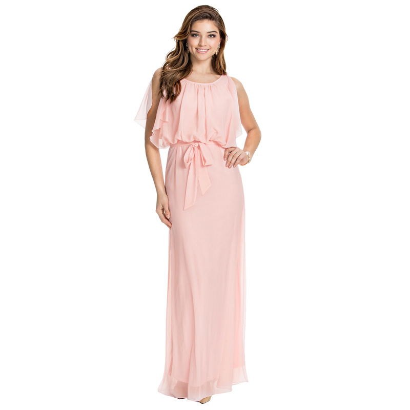 Buy Cheap Women's S-5XL 2017 New Puff Sleeve O-Neck Floor-Length Chiffon Plus Size Summer Style XXXL 4XL 5XL Maxi Dresses