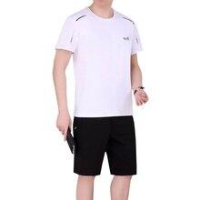 Лето 2019 г. бег простая спортивная одежда рубашка и короткие для человека 2 шт