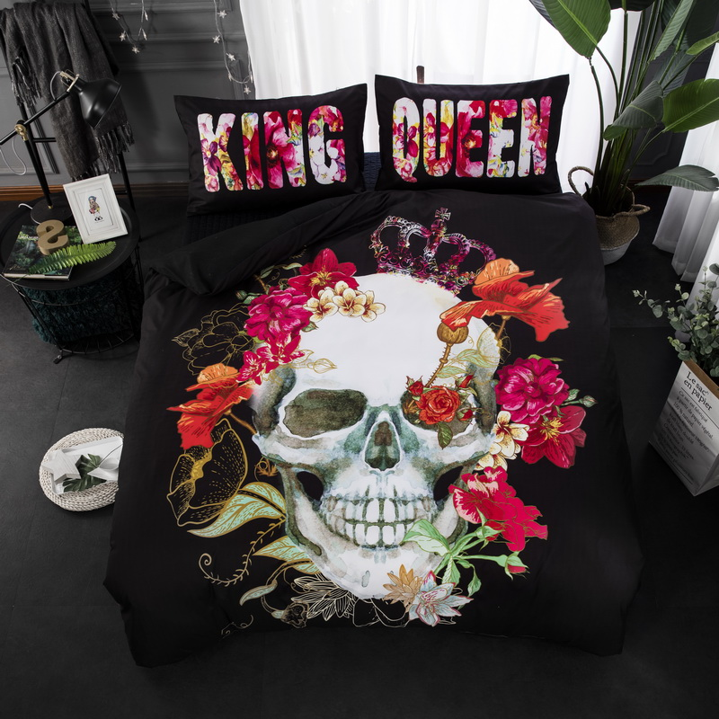 Cilected Entwickelt Schwarz König Königin Blumen Schädel Gedruckt Flache  Blatt 1 Stück Einzel Bett Blatt 200