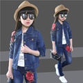 Children clothes baby girls outwear jeans sets child set fashion cowboy jacket for spring autumn kids clothes set 5-15 years