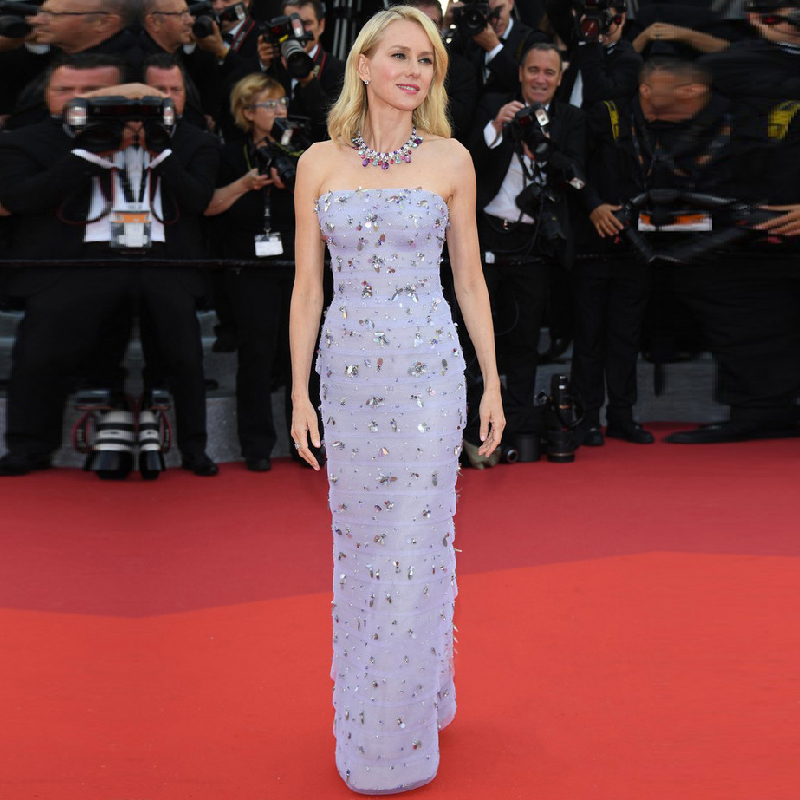 Glamour Lavande Strass Cristal Formelle Robe Festival de Cannes Tapis Rouge  Celebrity Robes 2017 Robe De