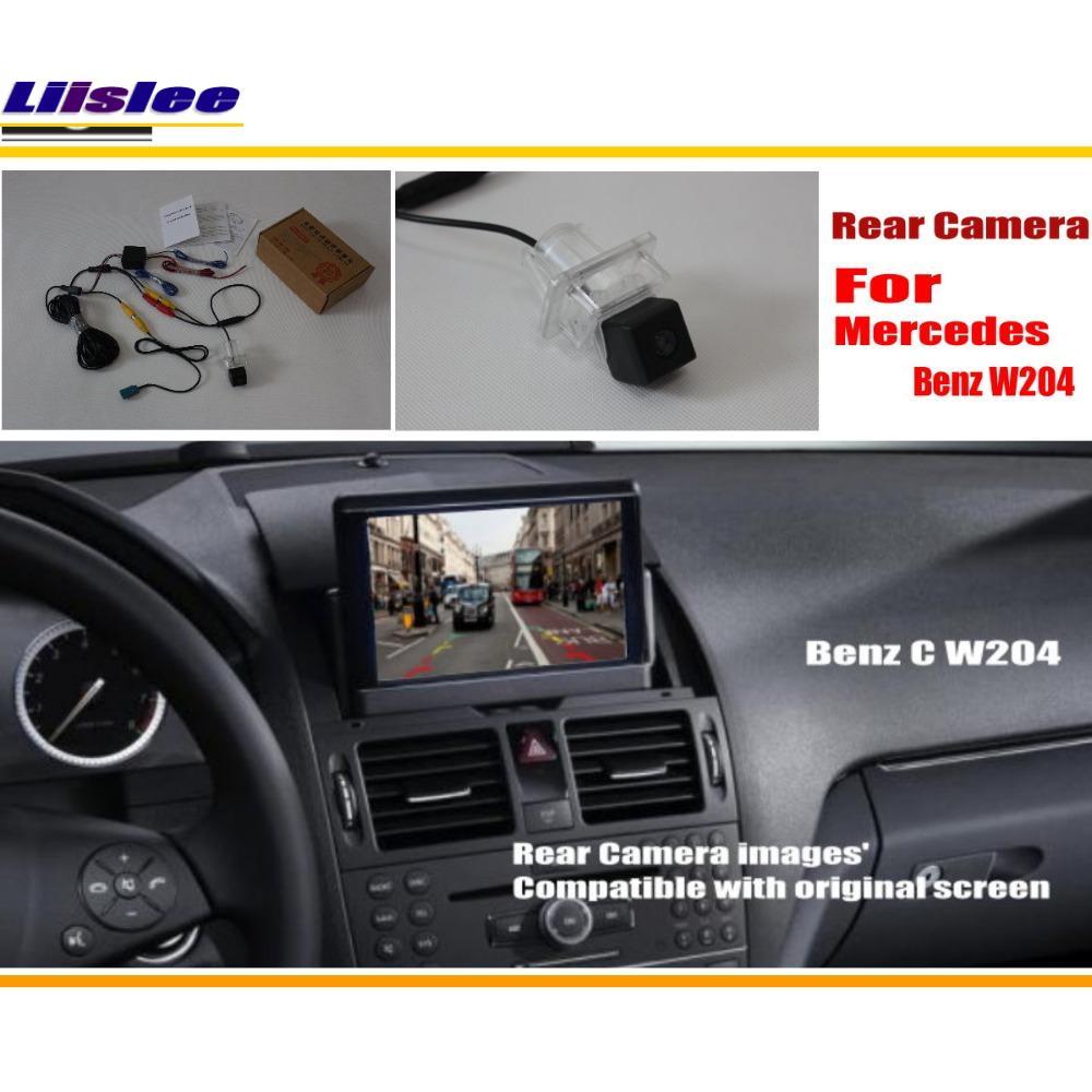 La cámara de visión trasera del coche de Liislee fija para la clase W204 2007 ~ 2014 de Mercedes Benz C / cámara reversa de reserva / RCA y pantalla original