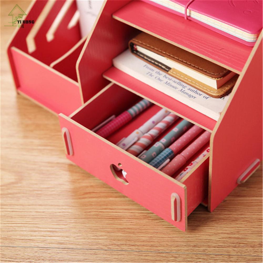 Yihong Multi Funktions Holz Desktop Storage Ordner Bilden Organizer Keranjang Multifungsi Box Schreibwaren Aufbewahrungsbox Kosmetischen Eintritt Racks 025c In