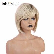 """Inhaircube 1"""" Pixie Cut женские парики Омбре синтетические человеческие волосы с челкой пушистые слоистые натуральные волнистые короткие волосы"""