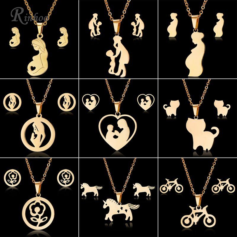 RINHOO Mom Love <font><b>Horse</b></font> Rose Flower Gold Color Stainless Steel Sets For Women Necklace Earrings Jewelry Set Mother's Day Jewelry image