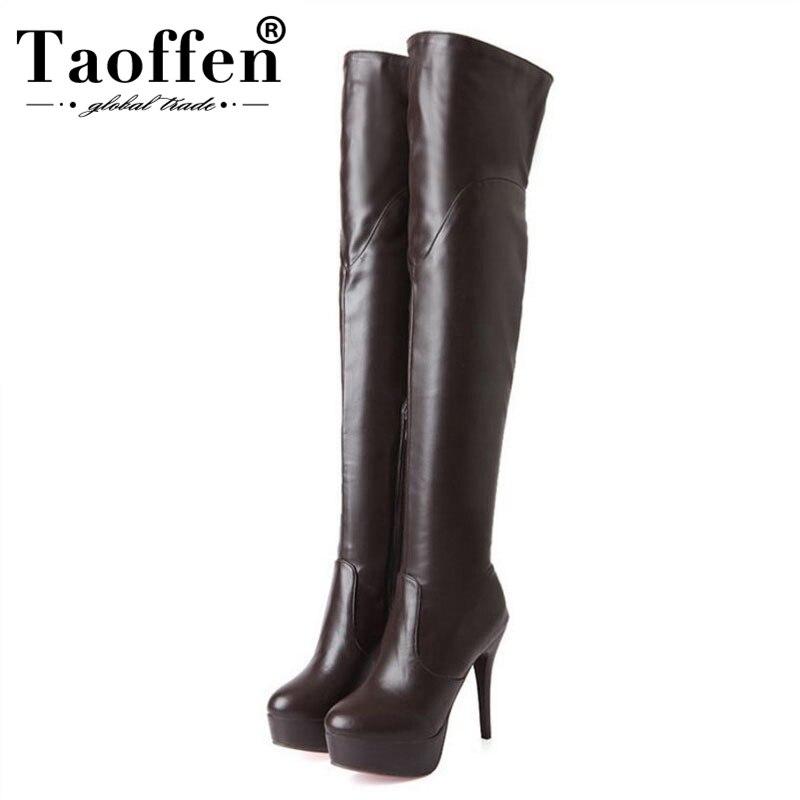 Taoffen Sexy sur le genou bottes hautes femmes talons hauts Slim doigt plate-forme chaussures femmes mode bottes en cuir Pu taille 34-45