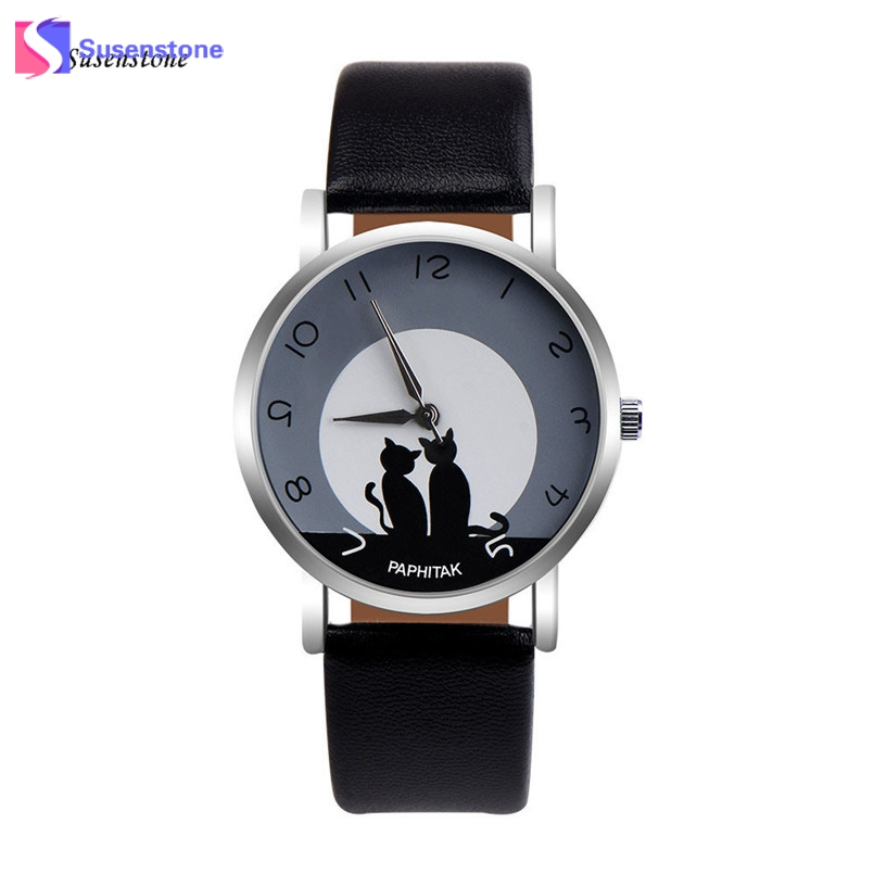 Cute Cat Printed Women Watches Faux Leather Analog Quartz Wrist Watch Clock Ladies Girl Casual Sport Watches reloj mujer 2017 cute cat pattern women fashion watch 2017 leather band analog quartz round wrist watch ladies clock dress watches relogio time