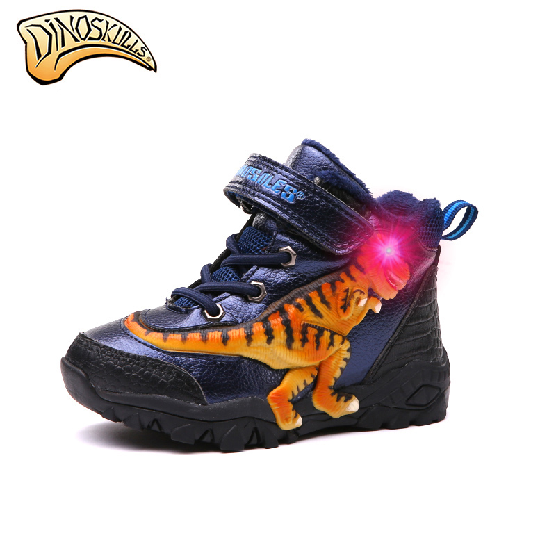 Dinoskulls 2019 зимние сапоги для мальчиков Дети снегоступы для детей со светодиодной подсветкой Зимняя Теплая Флисовая обувь T-REX обувь botas 27-34 #