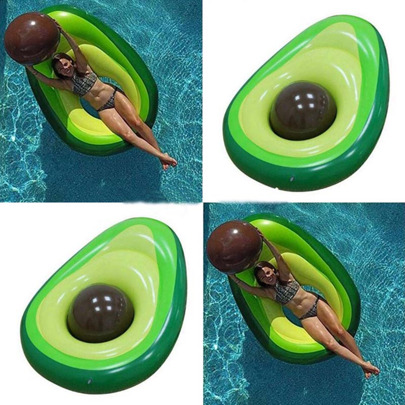 2018 New Design Giant Green Avocado Swimming Pool For Adults Inflatable Air Mattress Summer Water Sports