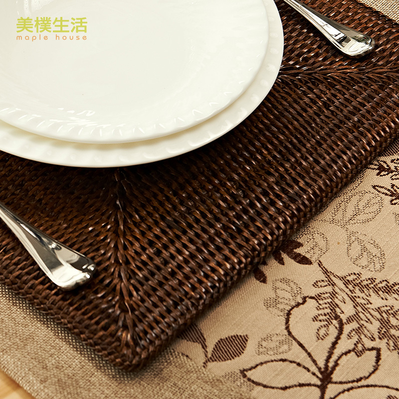 US Park Living Square Woven Rattan Placemats Green Waterproof Insulation Mat Table Mats