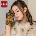 GSG Fashion Women Short  Leopard Grain / Black Leather Gloves for Ladies Glove With Zipper Luvas Wrist Gloves Sexy Mitten Female