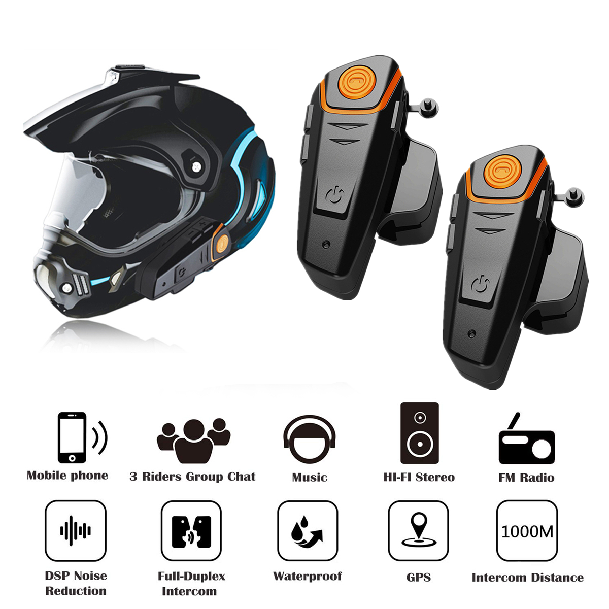 Bluetooth Helmet Headset Intercom Moto Fm-Radio Waterproof Bt-S2 pro Wireless 2pieces