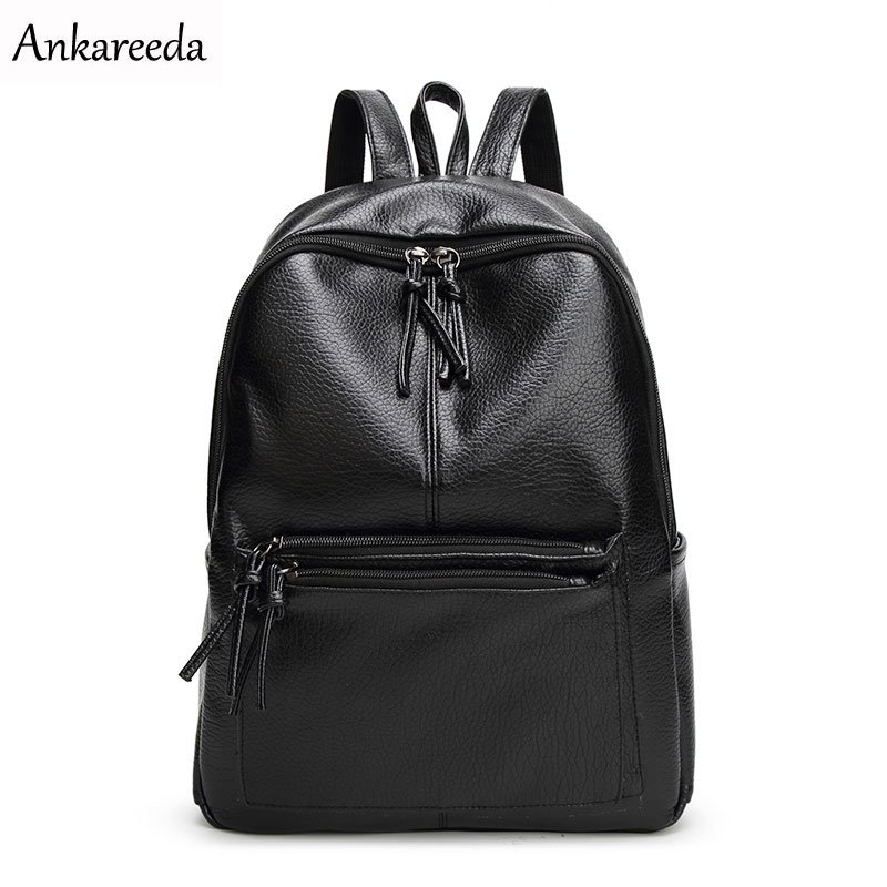 Ankareeda New Travel Backpack Korean Women Backpack Leisure Student Schoolbag Soft PU Leather Women Bag High Quality new travel backpack feminine korean women fashion backpack leisure student schoolbag black soft pu leather women bag 14ba31 9 2