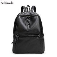 Ankareeda New Travel Backpack Korean Women Backpack Leisure Student Schoolbag Soft PU Leather Women Bag High