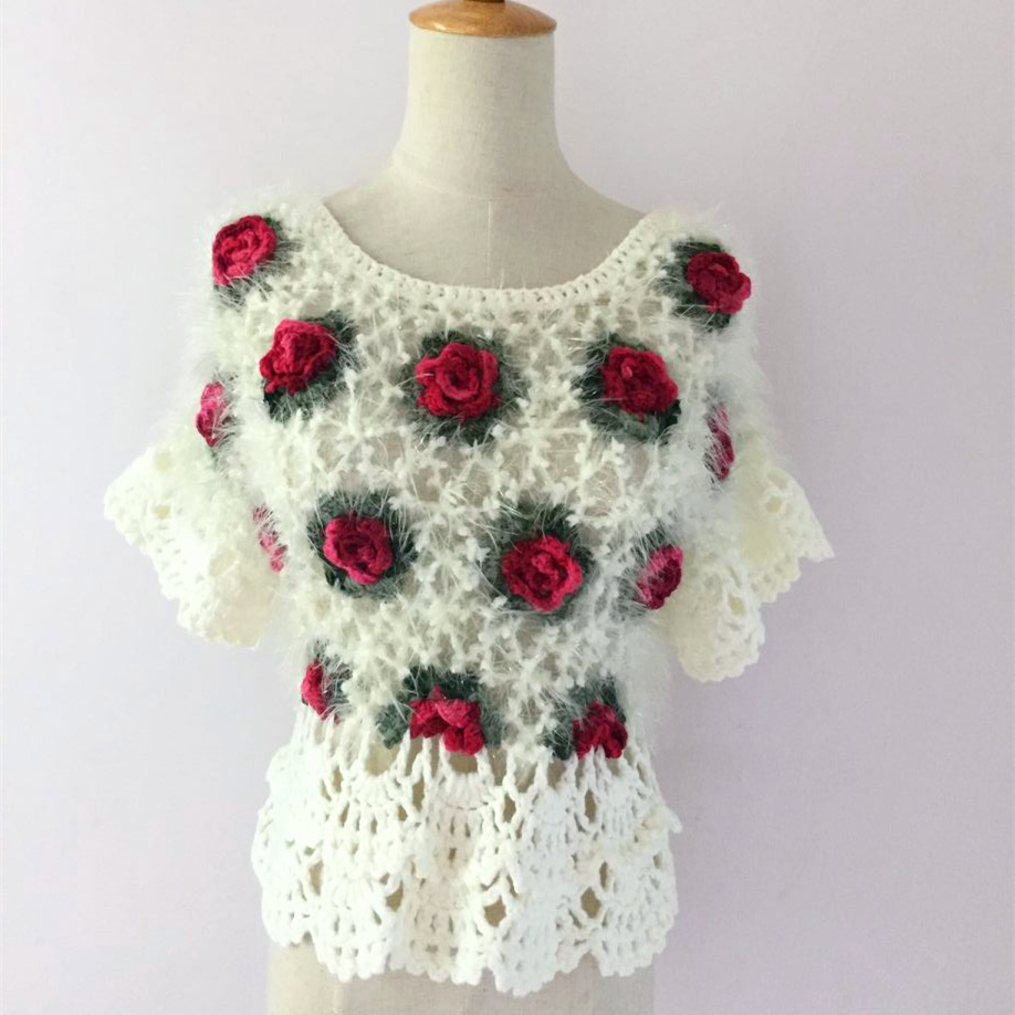 Handmade Crochet Sweaters Women 2017 Vintage Ethnic Mohair Style Hollow Out  Rose Floral Butterfly Sleeve Pullover
