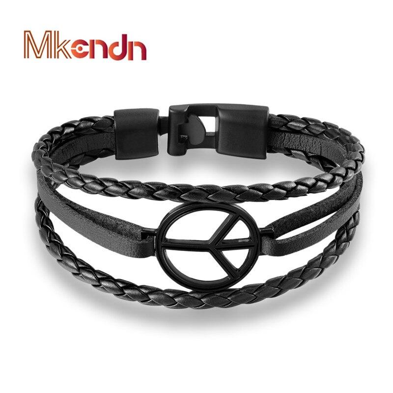 MKENDN 2017 New Arrival Fashion Peace sign Bracelet Bangle Genuine Leather Hand Chain Buckle friendship men women bracelet