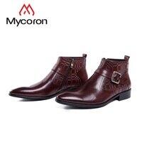 MYCORON/Новое поступление, классические ботильоны в винтажном стиле, черные кожаные ботинки с боковой молнией, мужские ботинки с острым носком,