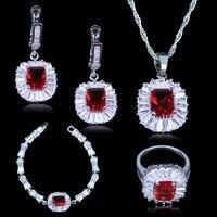 L & B AAA + Qualité Roms Royal Carré Simple Style Rouge Créé Grenat Blanc Zircone Argent Couleur Bijoux Ensembles pour Femmes Présentes