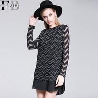 2016 Autumn Mini Full Sleeve Straight Casual Women Loose Cotton Office Knitting Net Dress Black Set Party Dresses Plus Size New