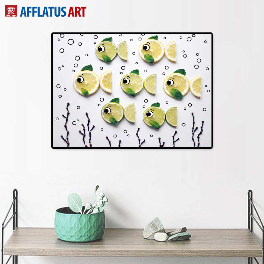 Cartoon Pineapple Lemon Fish Wall Art Canvas Painting Kitchen Canvas Posters And Prints Wall Pictures Living Room Nordic Decor