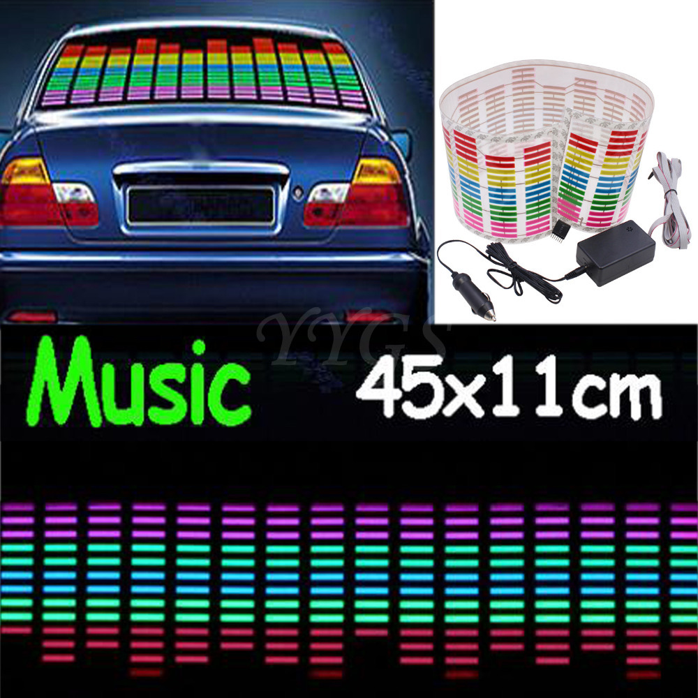45*11cm Red Yellow Blue Green Rosy Change Car Sticker Music Rhythm LED Flash Light Lamp Voice-activated Equalizer Stickers